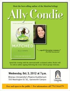 Best-selling Teen Sci-Fi Romance Novelist Ally Condie Appears at Brenau
