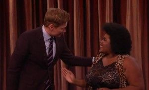 Dulce Sloan on Feb. 8 with host Conan O'Brien after her routine.