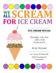 An ice cream social is planned July 21 on the Gainesville campus.
