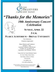 """Thanks for the Memories"": The Believers Concert Band performs favorite tunes April 22"