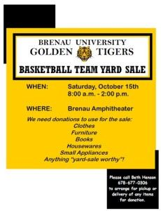 Basketball Team Yard Sale Oct.15