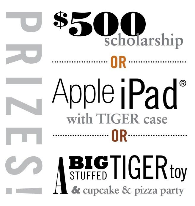 Prizes for the 'Name That Tiger!' contest