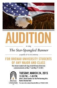 Any Brenau student may audition to sing the national anthem at commencement.