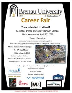 A flier for the April 27 career fair at Brenau's South Atlanta campus.