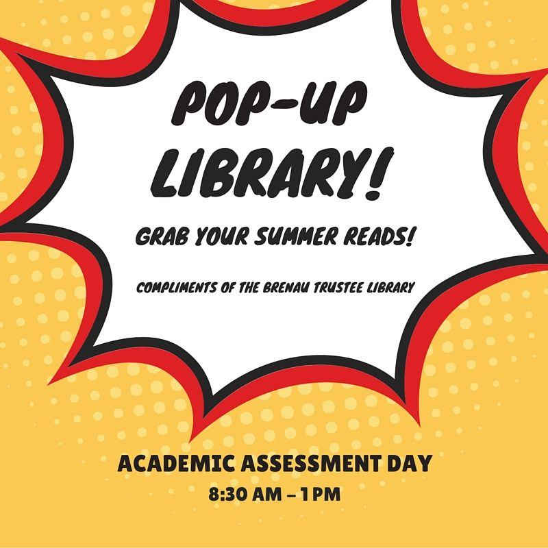 "You can visit Brenau's pop-up library"" on Tuesday, May 10."