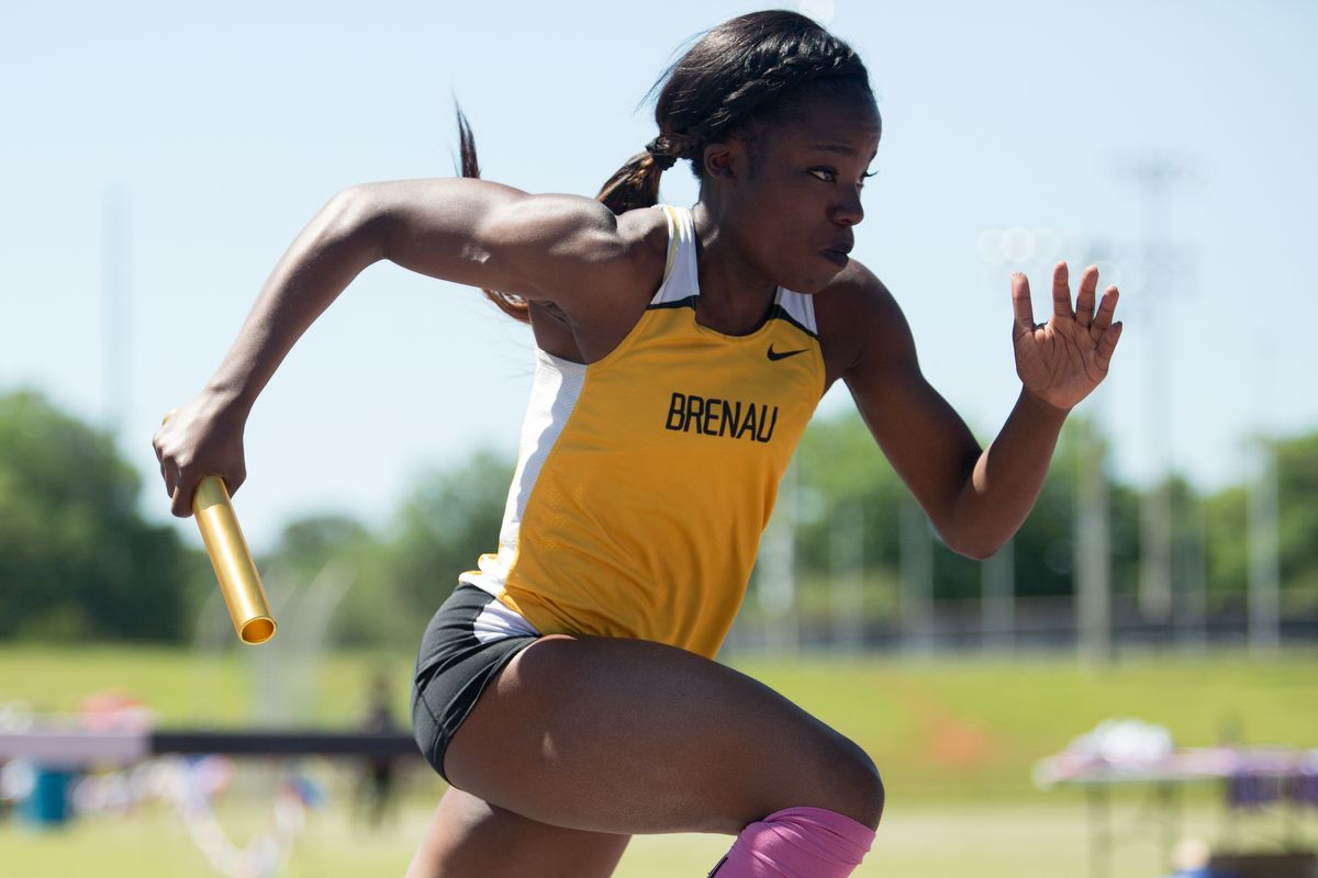 Brenau's Olamide Sokunbi runs during the final day of the SSAC Outdoor Track & Field Championship on Saturday, April 23, 2016, at the Jaguar Track at the University of South Alabama in Mobile, Ala. Brenau won the 2016 SSAC Women's Outdoor Track & Field Championship. (AJ Reynolds/Brenau University)