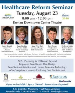 The Greater Hall Chamber of Commerce's 2016 Health Care Reform Seminar is Aug. 23 at the Brenau University Downtown Center.