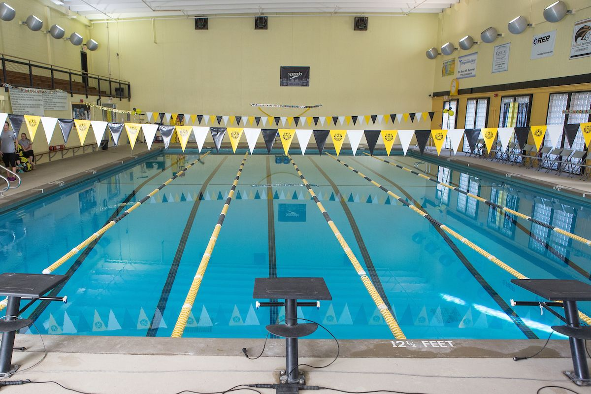 A view of the Brenau University swimming pool inside the fitness center.