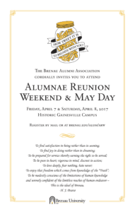 Formal invitation to Alumnae Reunion Weekend